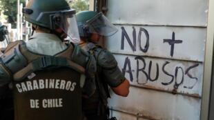 Carabineros de Chile durante una manifestación en Providencia, un barrio acomodado de Santiago, el 7 de noviembre de 2019.