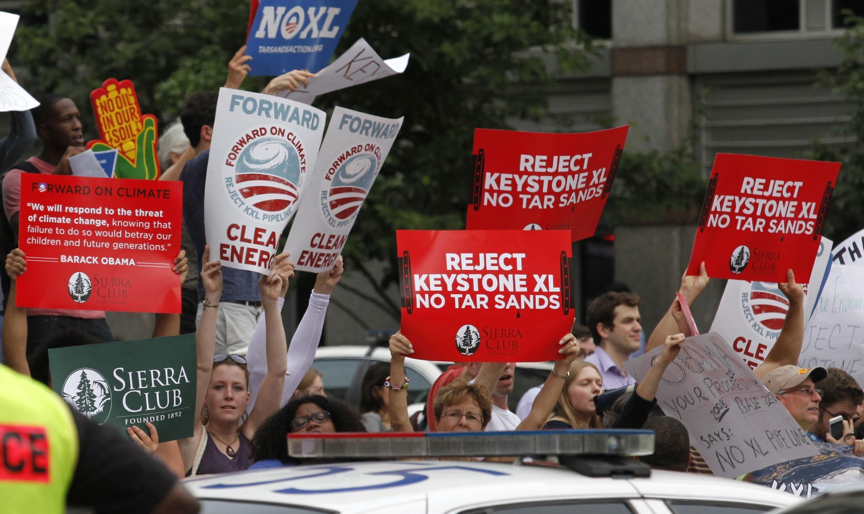Manifestation de protestation contre le projet de construction de l'olédoduc Keystone, à Washington, le 11 juillet 2013.
