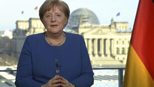 This videograb taken from German TV channel ARD on March 18, 2020 shows German Chancellor Angela Merkel addressing the nation on the spread of the new coronavirus COVID-19