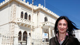 Daphne Caruana in front of the Libyan embassy in Malta in 2011.