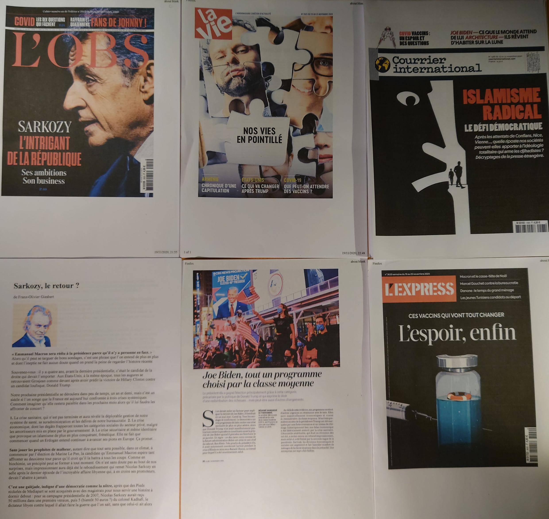 Semanários franceses  21 11 2020