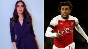 Esha Gupta tare da dan wasan Najeriya da ke taka leda a Arsenal Alex Iwobi