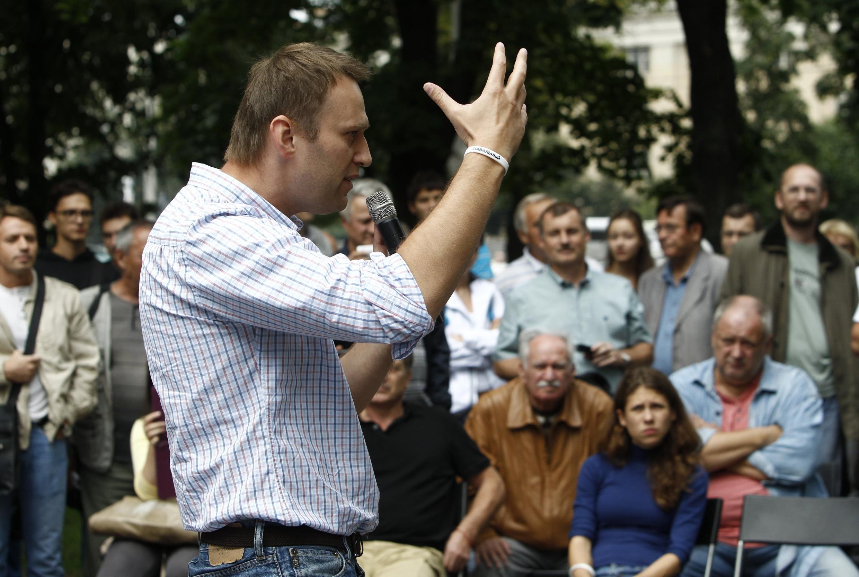 Alexeï Navalny devant ses partisans en juillet 2013.
