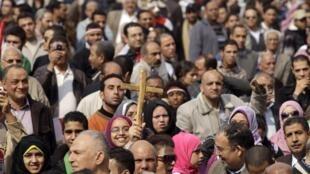 Sur la place Tahrir, le 9 février 2011.