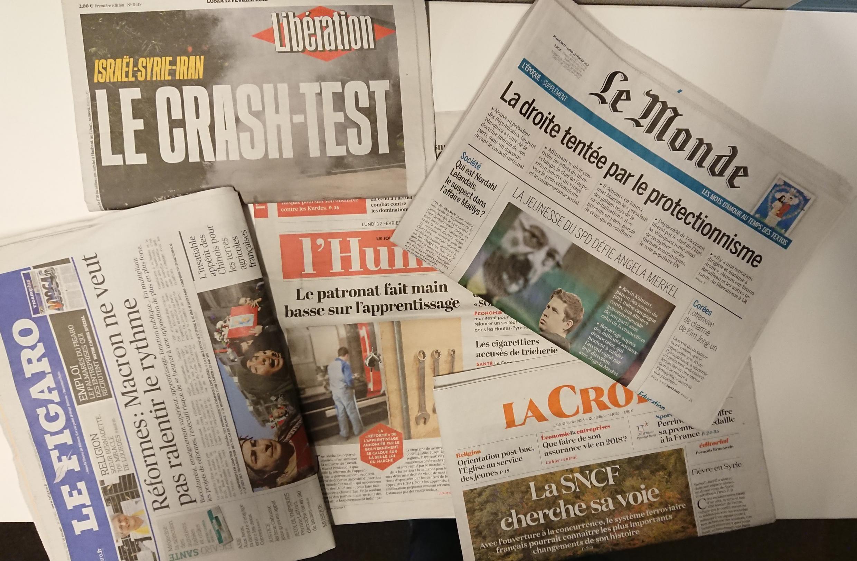 Primeiras páginas dos jornais franceses de 12 de fevereiro de 2018