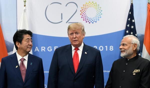 Le Japon de Shinzo Abe, les Etats-Unis de Donald Trump et l'Inde de Narendra Modi sont les principaux promoteurs de l'axe indo-pacifique, sans que l'Inde et le Japon partagent pour autant la véhémence anti-chinoise de leur partenaire américain.