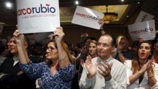 美國共和黨總統候選人盧比奧的支持者 2016年2月21日 拉斯維加斯