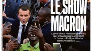 """""""O Show Macron"""" é a manchete de capa do jornal Libération desta quarta-feira (29)."""