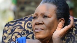 La présidente centrafricaine de la transition Catherine Samba-Panza lors d'une conférence de presse à Bangui, le 21 janvier 2014.