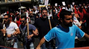 Manifestation contre les mesures d'austérité prévues par le gouvernement grec, le 30 mai 2018 à Athènes.