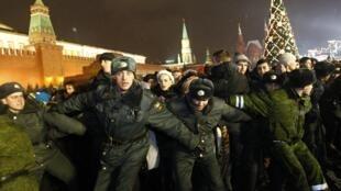 La place Rouge, à Moscou, 31 décembre 2011.