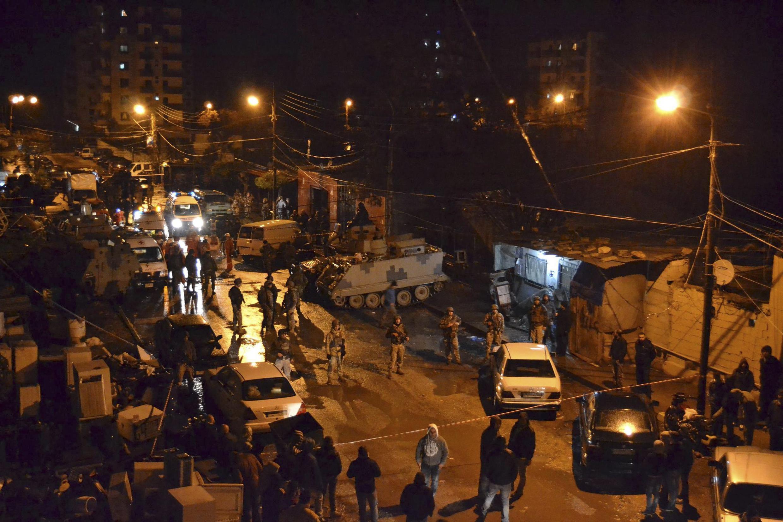 Sur les lieux de l'attentat, à Tripoli, au Liban, le 10 janvier 2015.