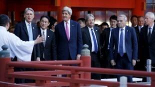 Secretário de Estado John Kerry  e homólogos do G7  em Hiroshima.10 de Abril 2016