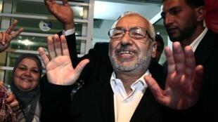 Le leader d'Ennahda Rached Ghannouchi après la proclamation des résultats des élections, le 27 octobre 2011, à Tunis