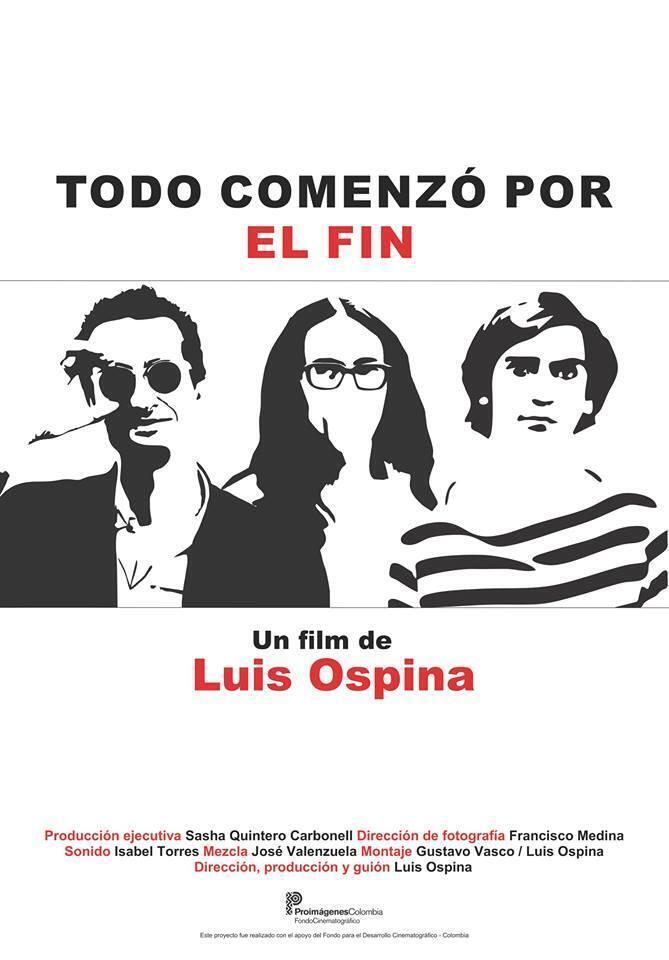 Sur l'affiche du film, les trois silhouettes de Luis Ospina, Andrés Caicedo et Carlos Mayolo (de gauche à droite)