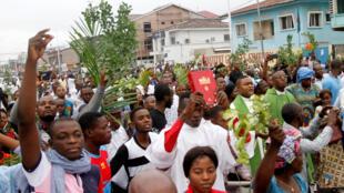 En tête de cortège, le Comité laïc de coordination, pendant la marche pacifique du 21 janvier 2018 à Kinshasa pour demander l'alternance et la tenue des élections à la fin de l'année.