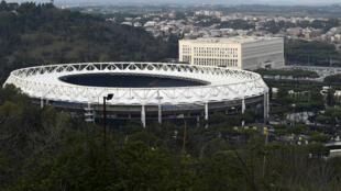Le stade Olympique de Rome, le 17 mars 2020, où le coup d'envoi de l'Euro de football sera donné, le 11 juin 2021