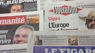 Primeiras páginas dos diários franceses desta Segunda-feira, 25 de Março de 2013