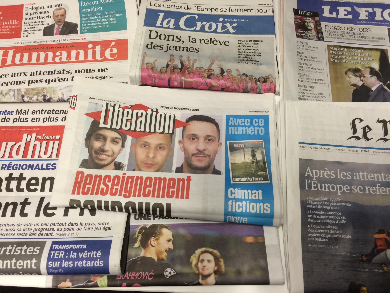 Primeiras páginas dos jornais franceses de 26/11/2015