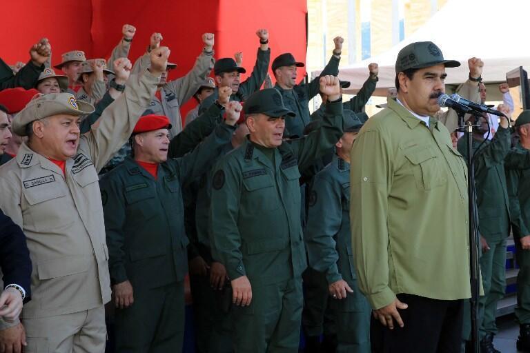 Discours du président Nicolás Maduro, lors d'un défilé militaire organisé à l'occasion de l'anniversaire de la mort de Simón Bolívar, le 17 décembre 2018 à Caracas.