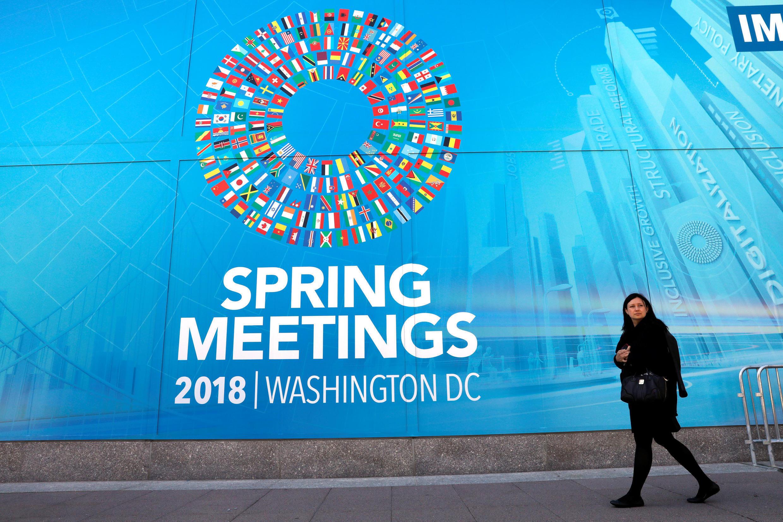 Khóa họp Mùa Xuân 2018 diễn ra tại trụ sở IMF ở Washington. Ảnh chụp ngày 20/04/2018.