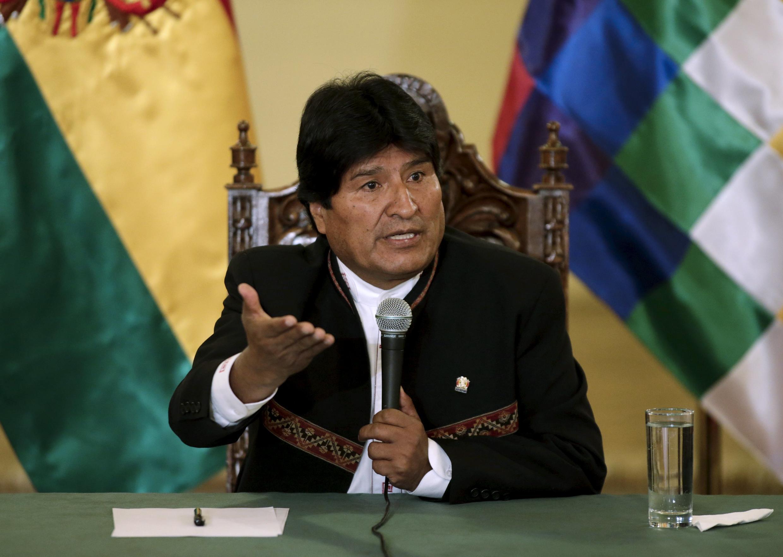 Tổng thống Evo Morales phát biểu trong một cuộc họp báo tại La Paz, Bolivia, 22/02/2016