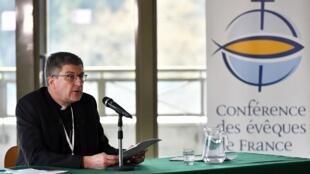 Эрик де Мулен-Бофор, председатель Конференции католических епископов Франции. Пресс-конференция в Лурде. 26.03.2021
