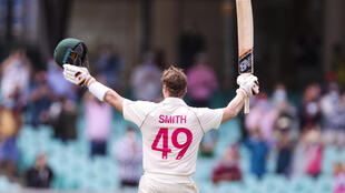 Steve Smith celebrates scoring a century in the Sydney Test, during which he came under fire for his antics in the field
