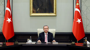 Turkish President Tayyip Erdogan chairs a National Security Council (MGK) meeting at the presidential palace in Ankara, Turkey, July 20, 2016.
