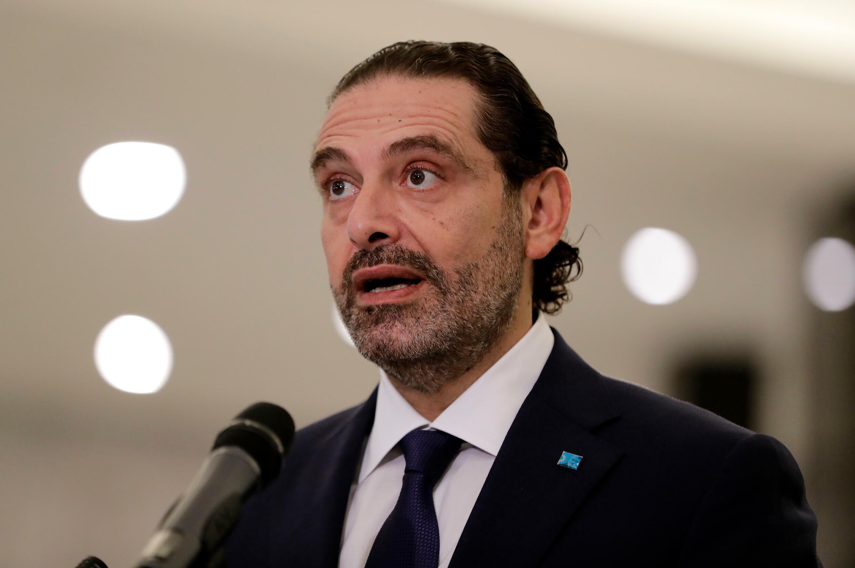 El entonces ex primer ministro libanés Saad Hariri pronuncia una declaración en el palacio presidencial en Baabda, al este de Beirut, el 22 de octubre de 2020