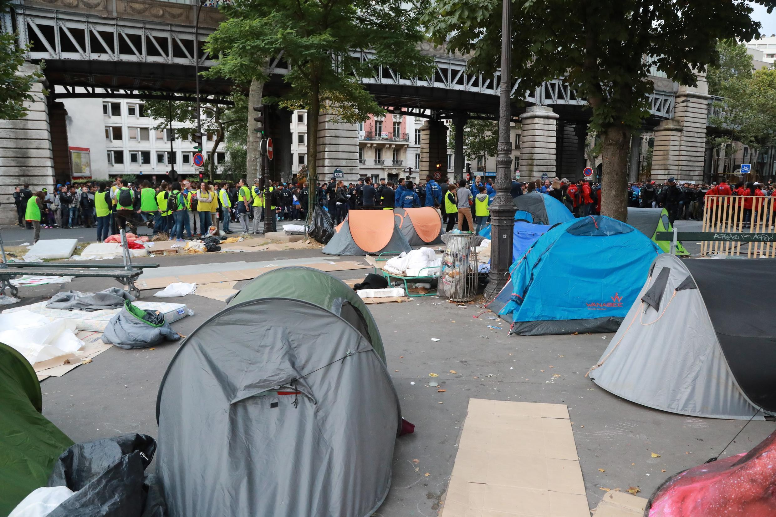 This picture shows empty tents during the evacuation of migrants from a makeshift camp by French police on Friday.
