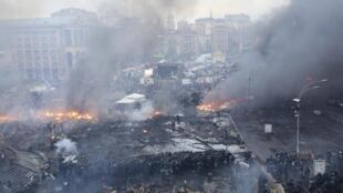 A Praça da Indepência em Kiev, na manhã desta quarta-feira.