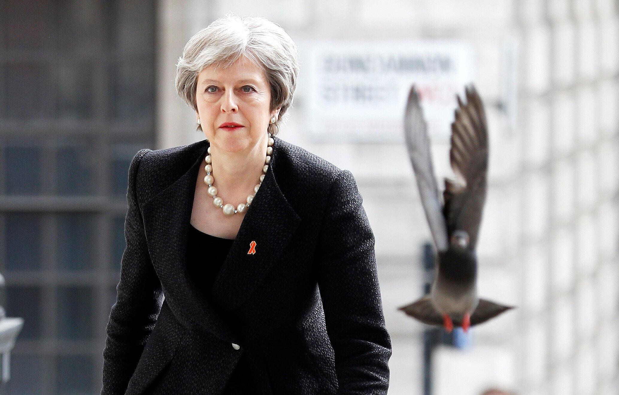 Primeira-ministra britânica Theresa May, em Londres a 23 de Abril de 2018.