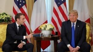 法國總統馬克龍和美國總統特朗普 2019年12月3日在倫敦北約峰會上