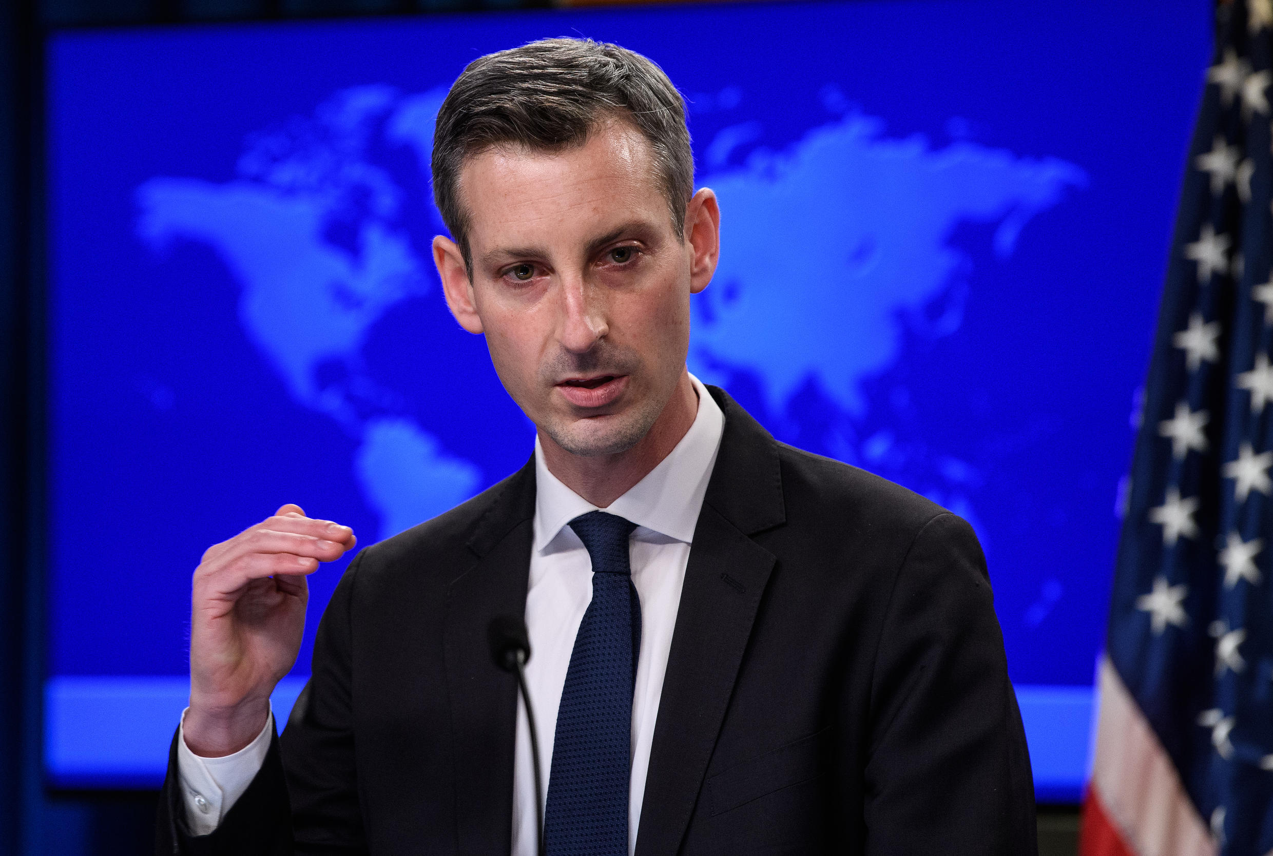 US State Department spokesman Ned Price speaks at his first daily press briefing at the State Department in Washington