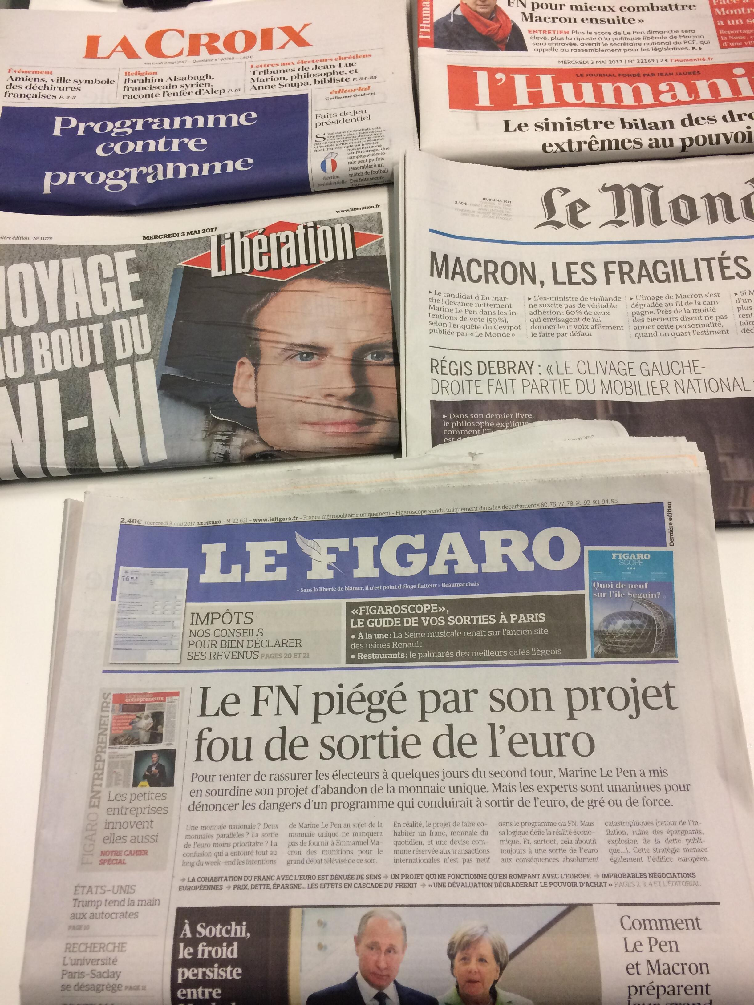 Primeiras páginas dos jornais franceses 03/05/2017