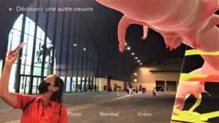« Genius loci », capture d'écran pendant la découverte de l'œuvre de Theo Triantafyllidis au festival « Palais Augmenté » au Grand Palais Éphémère.  © Siegfried Forster / RFI