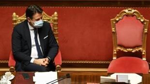 El primer ministro italiano, Giuseppe Conte, el 19 de enero de 2021 en el Palazzo Madama en Roma