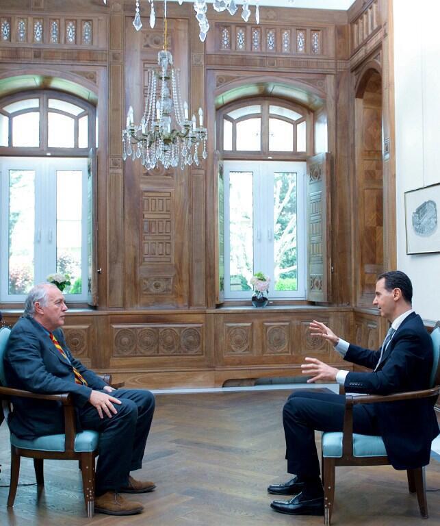 بشار اسد رئیس جمهوری سوریه، در گفتوگویی اختصاصی با خبرگزاری فرانسه ( AFP)،  که روز چهارشنبه ۲۳ فروردین/ ۱۲ آوریل ٢٠۱٧ در دمشق انجام شد.