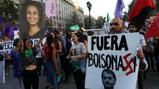 Des manifestants participent à un rassemblement contre le Prosur à Santiago, au Chili, le 22 mars 2019.