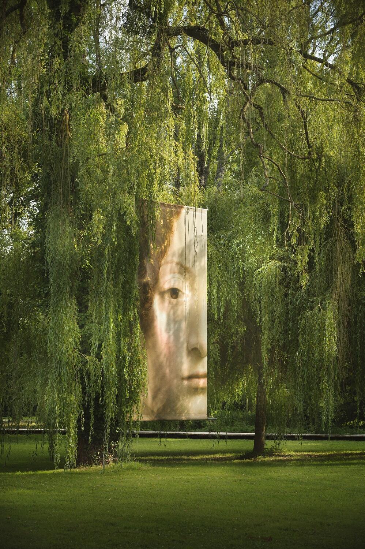 Проекция портрета Джиневры де Бенчи (Леонардо да Винчи) в парке Кло-Люсе. 2019.
