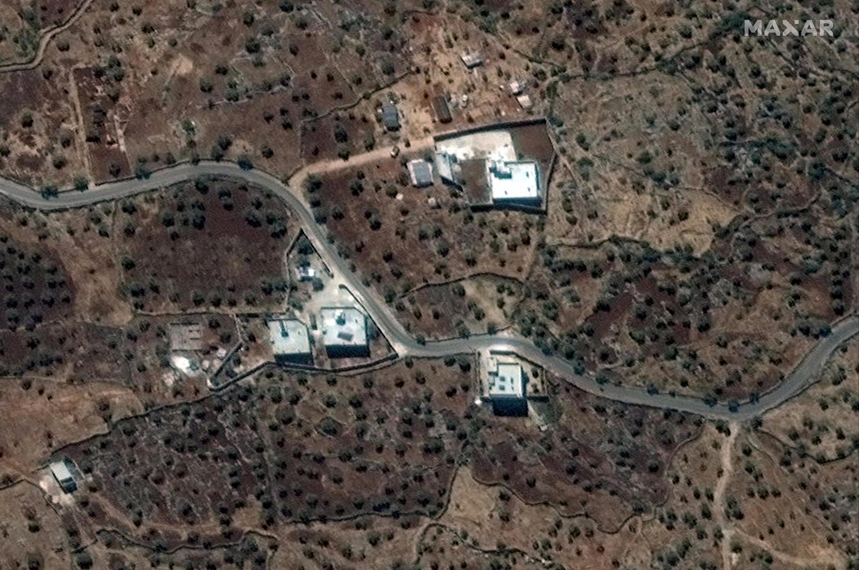 Ảnh chụp vệ tinh khu nhà trong làng Baricha, Syria, nơi Abou Bakr al-Baghdadi, thủ lĩnh Daech lần trốn  trước khi bị đặc nhiệm Mỹ tập kích. (Ảnh do Maxar Technologies chụp ngày 28/09/2019)