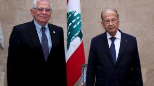 El presidente libanés Michel Aoun recibe al jefe de la diplomacia de la Unión Europea, Josep Borrell, en Beirut, el 19 de junio de 2021