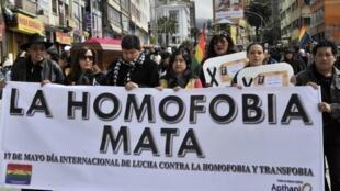 Une marche du collectif Trans, Gays, Lesbiennes et Bisexuels de Bolivie en mai 2013)
