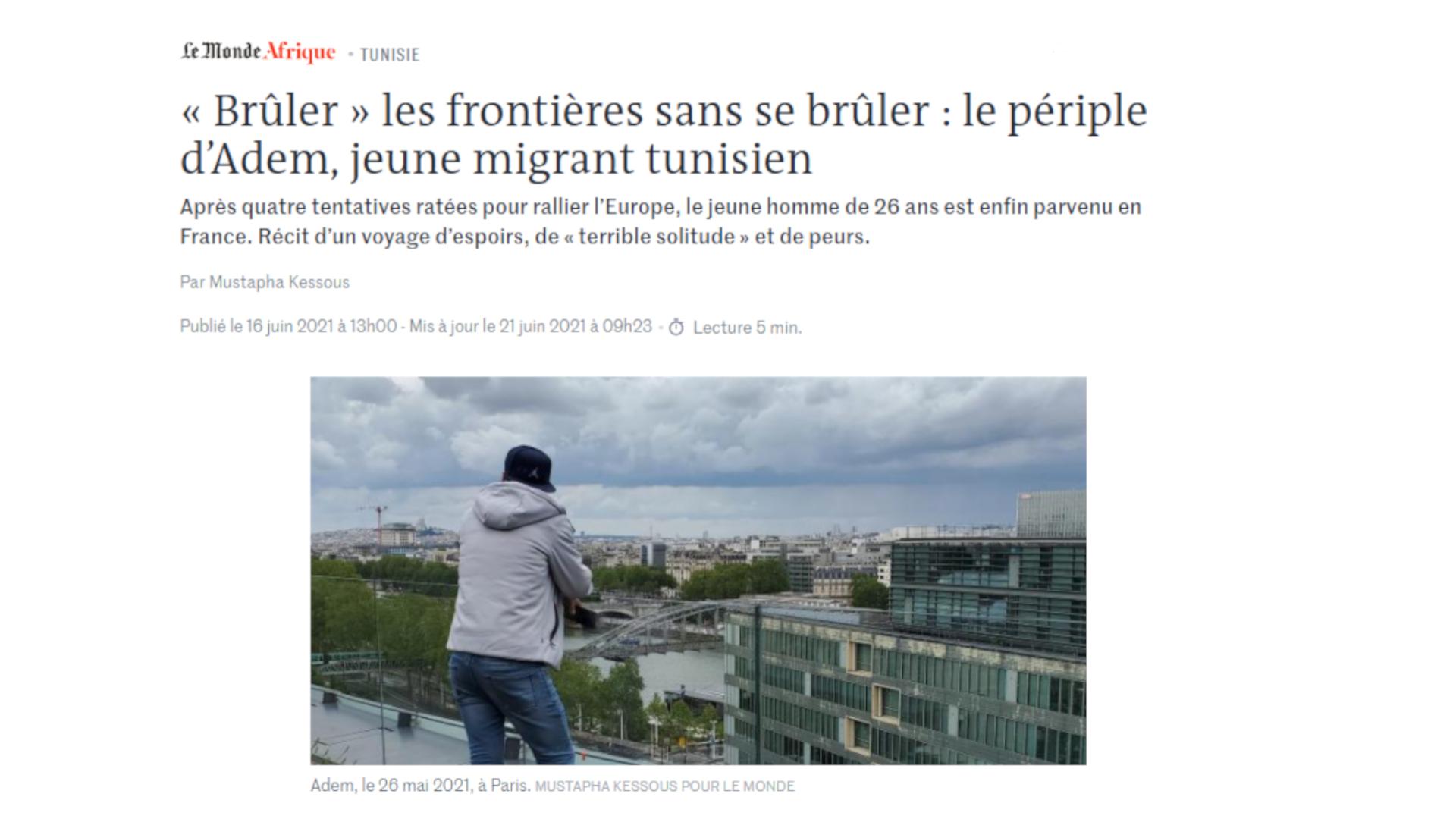 Capture d'écran Le Monde Afrique Tunisie