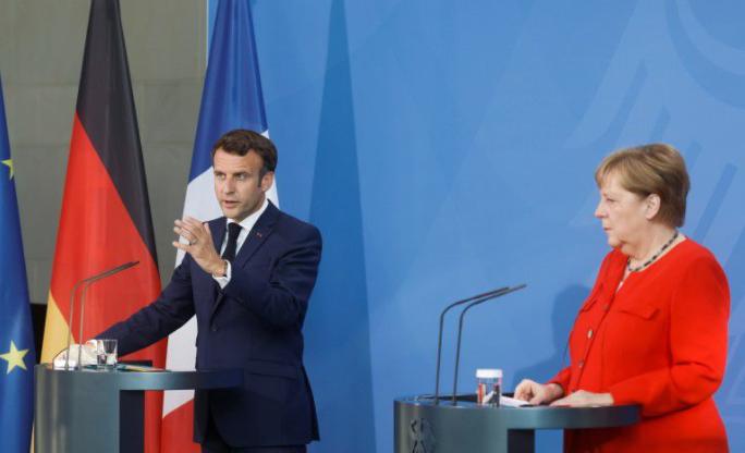 法国总统马克龙与德国总理默克尔资料图片