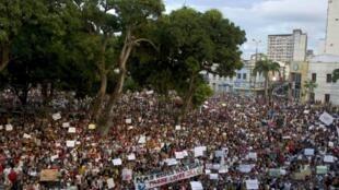 Manifestación en Belén, en el norte de Brasil, este 20 de junio de 2013.