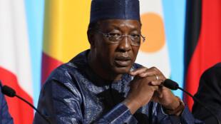 Le président tchadien Idriss Déby lors d'une conférence sur la crise des migrants, à Paris, le 28 août 2017.