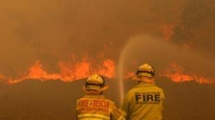 Ce samedi, à la faveur d'une météo un peu plus favorables, les pompiers ont réussi à maîtriser les 17 incendies les plus menaçants. Ici en Nouvelle-Galles du Sud, le 9 novembre 2019.