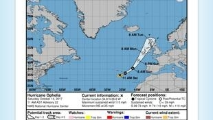 A Agência americana de observação oceânica e atmosférica (NHC na sigla em inglês) acompanha a evolução do furacão Ophelia, que passa pelos Açores antes de seguir para a Irlanda.